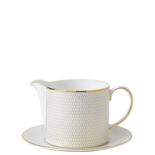 Arris Bone China Sauce Jug & Stand - Touch of Gold